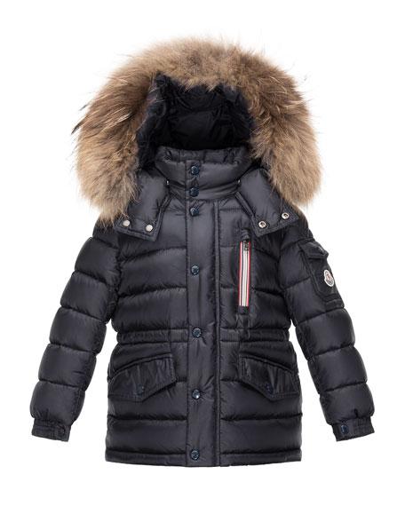 Boys' Lilian Hooded Puffer Coat, Navy, Size 4-6