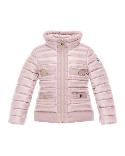 Obioma Zip-Front Puffer Jacket, Pink, Size 4-6