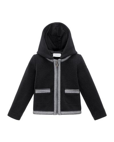 Hooded Fleece Metallic-Trim Jacket, Black, Size 8-14