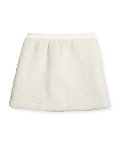 Faux Shearling A-Line Skirt, Size 4-6