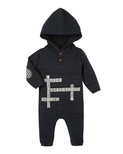 Hooded Crossword Puzzle Coverall, Black, Size 3-24 Months