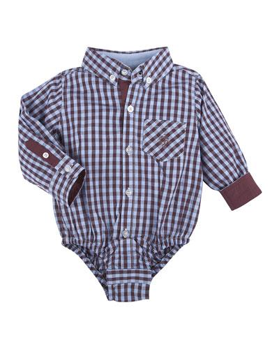 Long-Sleeve Poplin Gingham Shirtzie™, Maroon, Size 3-24 Months