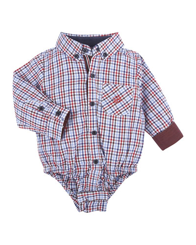 Long-Sleeve Poplin Check Shirtzie™, Red/Multicolor, Size 3-24 Months