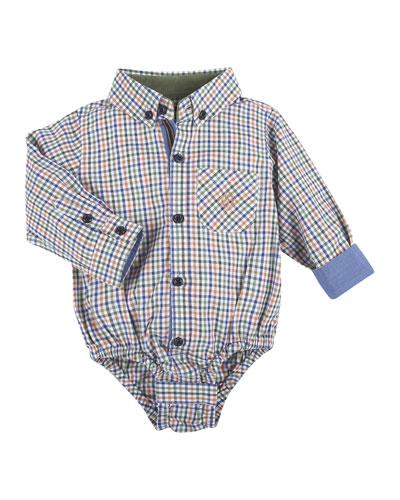 Long-Sleeve Poplin Plaid Shirtzie™, Orange/Multicolor, Size 3-24 Months