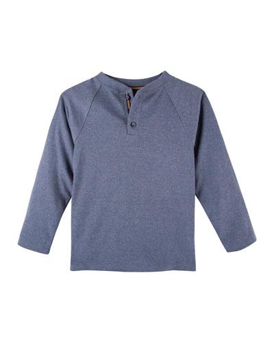 Long-Sleeve Raglan Henley Tee, Light Blue, 3-24 Months