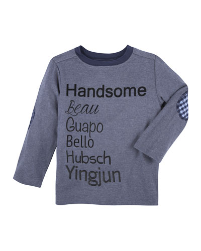 Handsome Long-Sleeve Jersey Tee, Light Blue, Size 3-24 Months