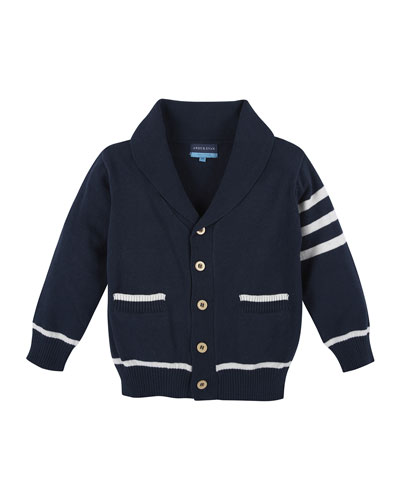 Cotton Varsity Sweater, Navy/White, Size 2T-7Y
