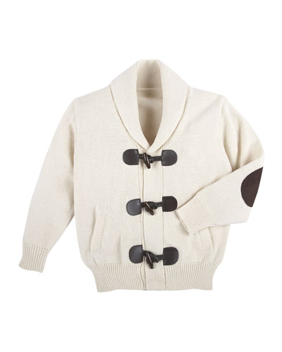 Cotton Toggle Cardigan, Oatmeal, Size 2-7