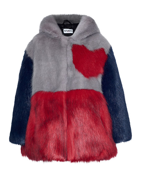 Bandits Girl Hooded Colorblock Heart Faux-Fur Jacket, Gray/Red,