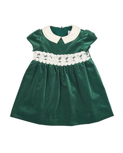 Cap-Sleeve Collared Velour Dress, Green, 3-18 Months
