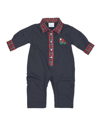 Long-Sleeve Plaid-Trim Jersey Coverall, Navy, Size 3-12 Months