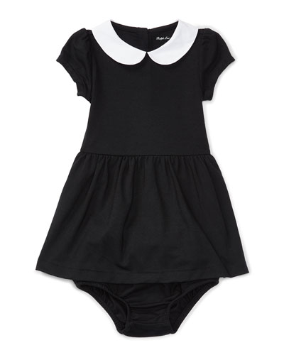 Cap-Sleeve Collared Jersey Dress w/ Bloomers, Black, Size 9-24 Months