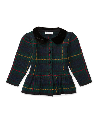 Collared Plaid Wool-Blend Sweater, Green/Multicolor, Size 9-24 Months
