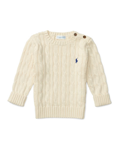 Cotton Cable-Knit Pullover Sweater, Cream, Size 9-24 Months