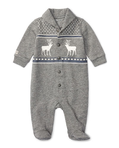 Terry Button-Front Intarsia Footie Pajamas, Gray, Size 3-9 Months
