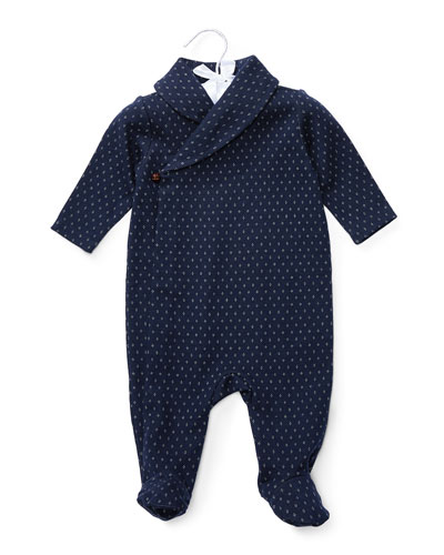 Knit Jacquard Footie Pajamas, Navy/White, Size 3-9 Months