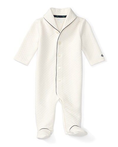 Pima-Blend Diamond Coverall, Cream, Size 3-9 Months