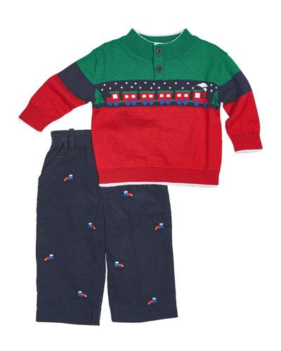 Colorblock Train Sweater w/ Corduroy Pants, Navy, Size 12-24 Months