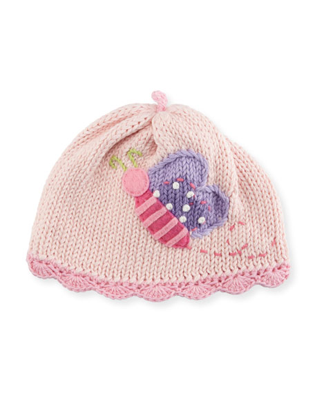 Art Walk Butterfly Knit Baby Hat, Pink