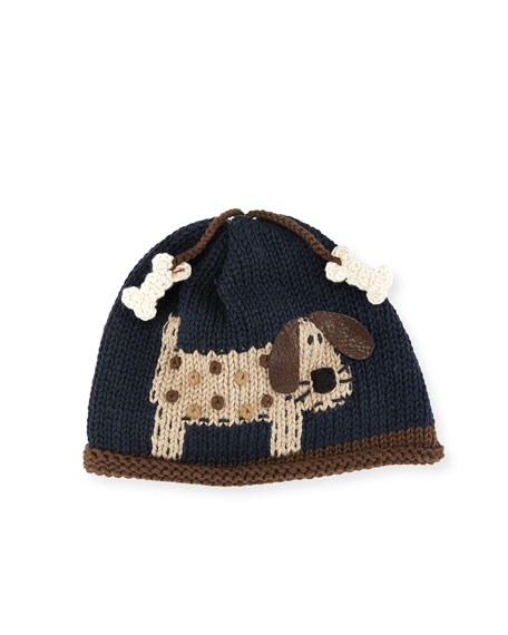 Woof Woof Knit Baby Hat, Blue