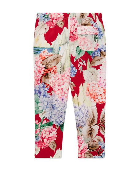 Silk Crepe de Chine Hydrangea Pants, Pink/Red, Size 4-12