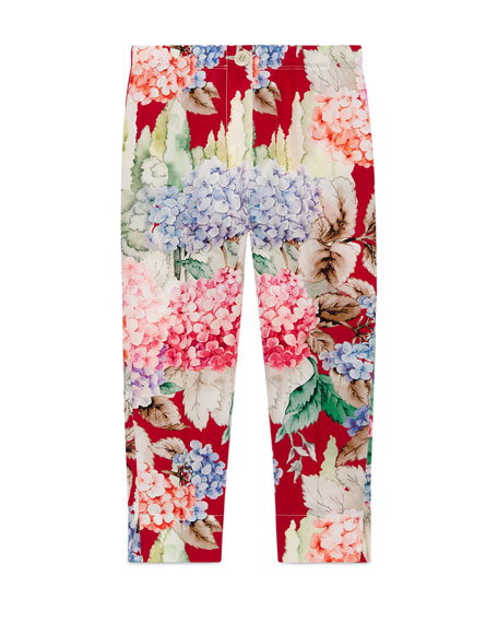 Silk Crepe de Chine Hydrangea Pants, Pink/Red, Size 4-12
