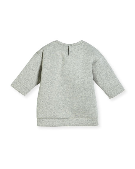 Heathered Neoprene Tiger Sweatshirt, Light Gray, Size 3-24 Months