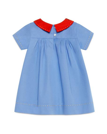 Short-Sleeve Embroidered Poplin Shift Dress, Multicolor, Size 12-36 Months