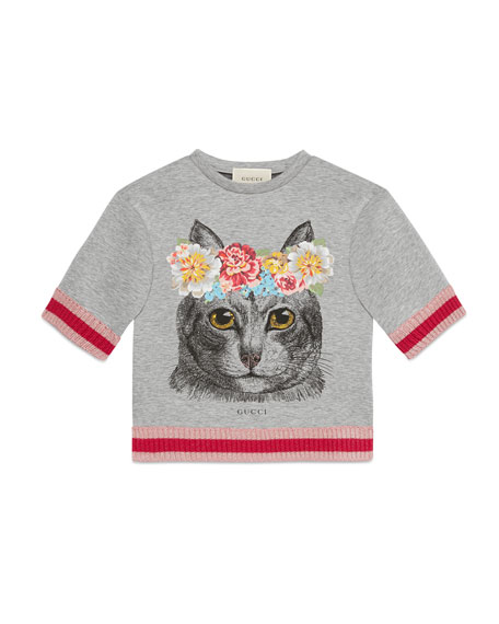 Short-Sleeve Melange Neoprene Cat Sweatshirt, Gray, Size 4-12