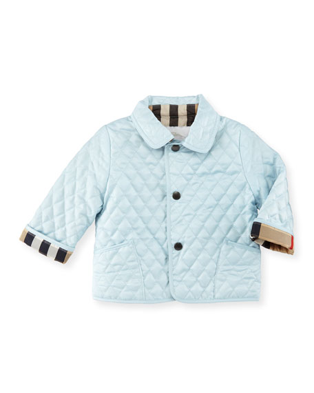 Burberry Colin Quilted Check-Trim Jacket, Porcelain, Size 6-18 Months : burberry quilted check trim coat - Adamdwight.com