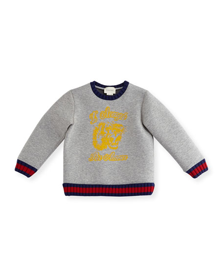 Heathered Cotton Neoprene Sweatshirt, Gray, Size 12-36 Months