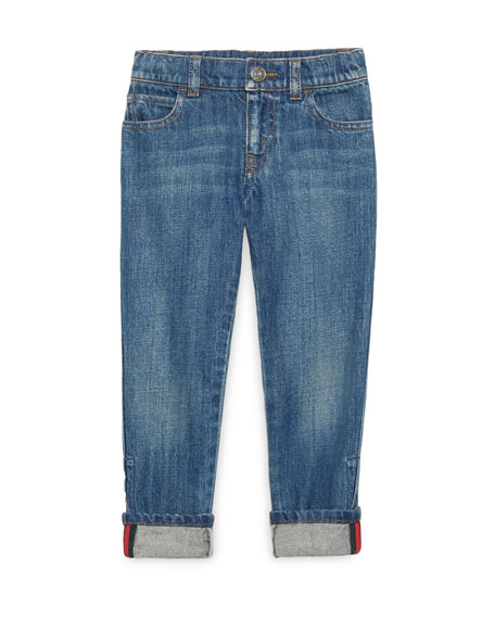 Washed Denim Straight-Leg Jeans, Blue, Size 4-12
