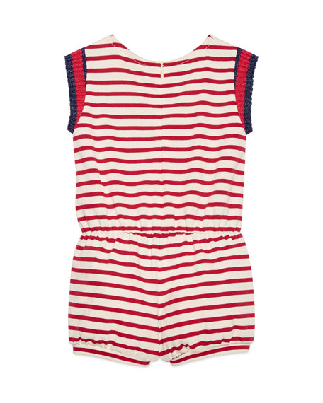 Sleeveless Striped Jersey Romper, White/Red, Size 4-12