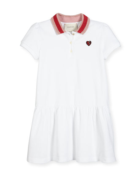 Gucci Cap-Sleeve Pique Polo Dress, White/Multicolor, Size 4-12