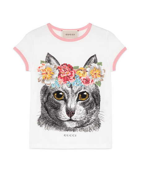 Short-Sleeve Cotton Jersey Cat Tee, White, Size 4-12