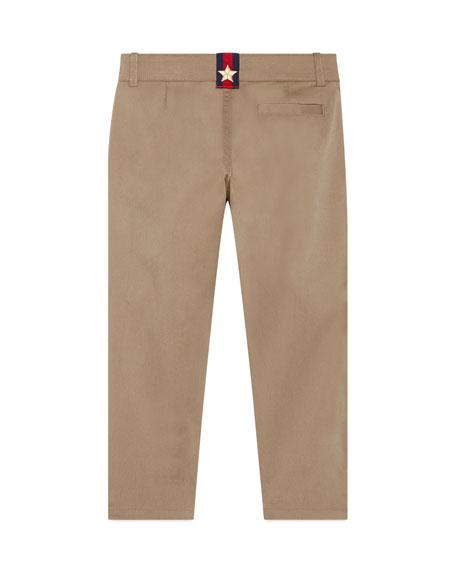 Stretch Gabardine Straight-Leg Pants, Khaki, Size 4-12