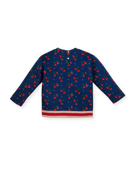 Heart Cherries Neoprene Sweatshirt, Navy, Size 18-36 Months