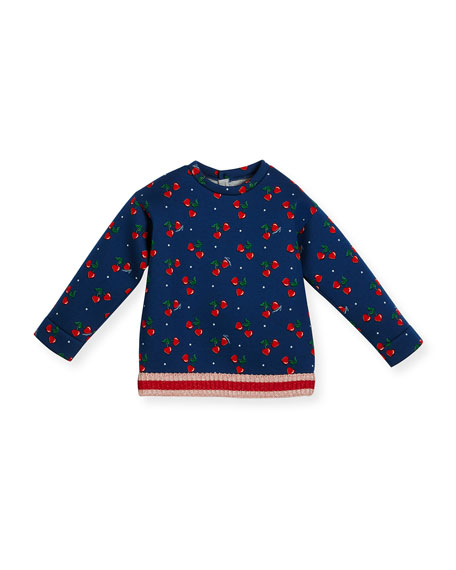 Heart Cherries Neoprene Sweatshirt, Navy, Size 18-36 Months