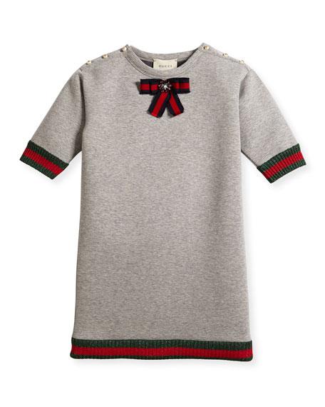 Short-Sleeve Cotton Jersey Dress, Gray, Size 4-12