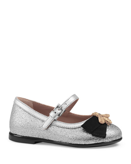 Metallic Leather Mary Jane Flat, Silver, Toddler