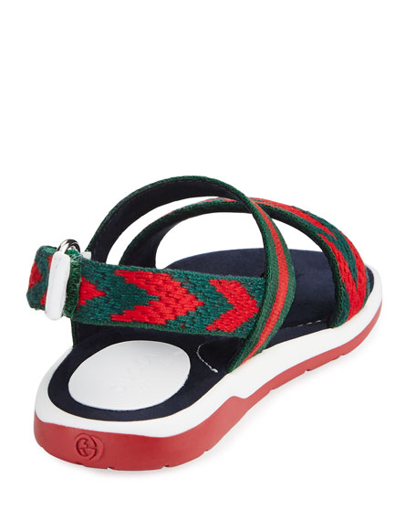 Chevron Leather Sandal, Green/Red, Toddler