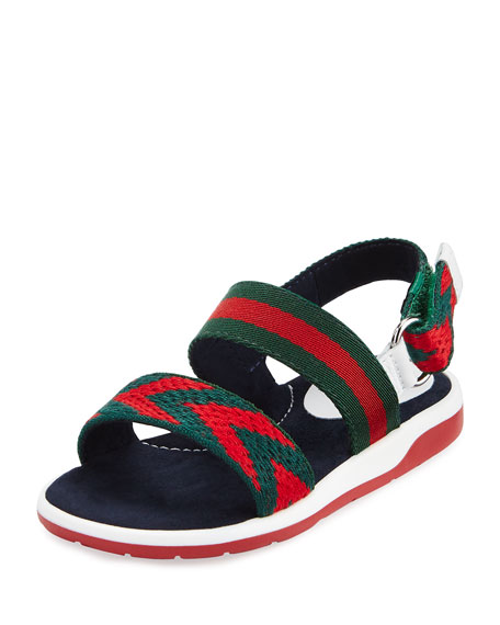 def95c4b7 Gucci Chevron Leather Sandals, Green/Red, Toddler
