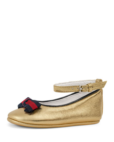 Metallic Leather Ballet Flats, Gold, Baby