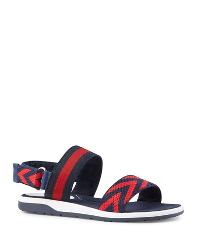 Chevron Leather Sandal, Blue/Red, Youth