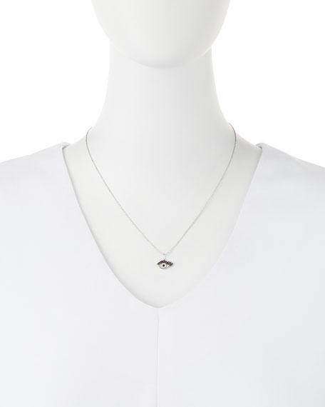 14k White Gold Eyelash Evil Eye Pendant Necklace