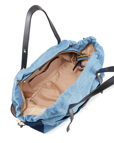 Patchwork Denim Diaper Bag Blue