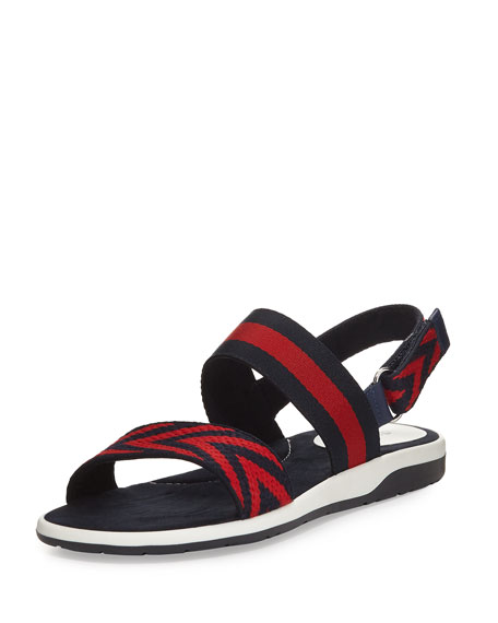 294495d73 Gucci Chevron Leather Sandal, Blue/Red, Youth