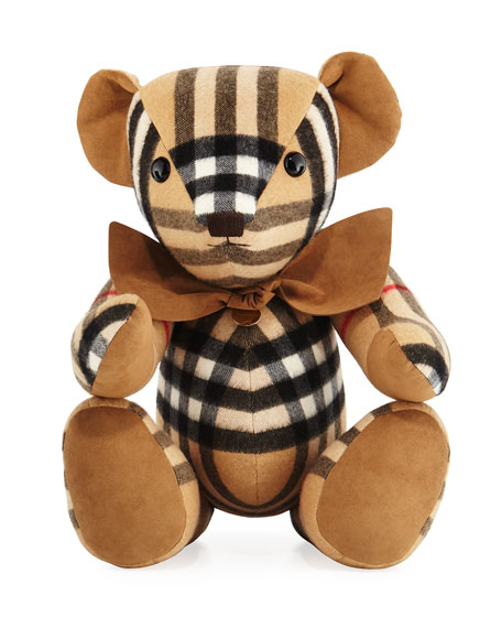 Thomas Check Cashmere Teddy Bear, Beige