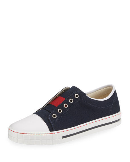 Canvas Slip-On Low-Top Sneakers, Blue/Red, Junior