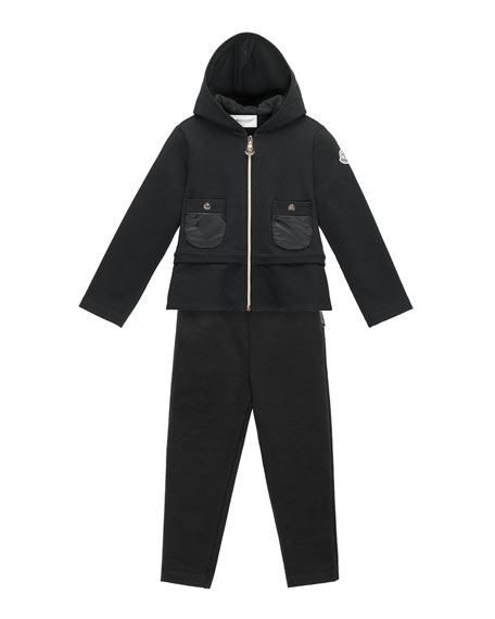 Moncler Hooded Two-Piece Track Suit, Black, Size 4-6